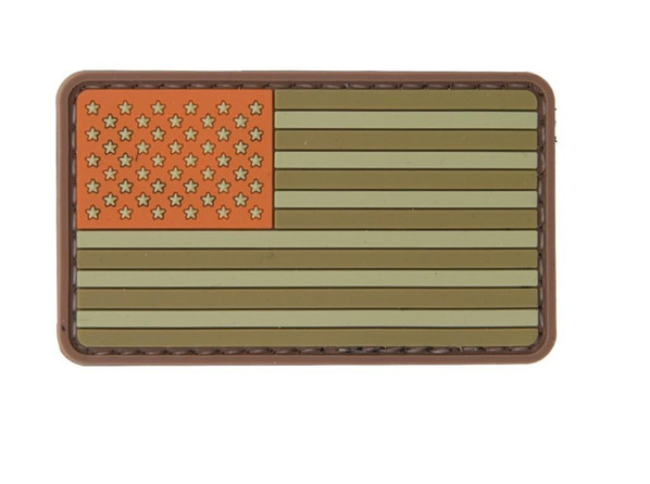 Brown and Tan Tones American Flag PVC Velcro Patch