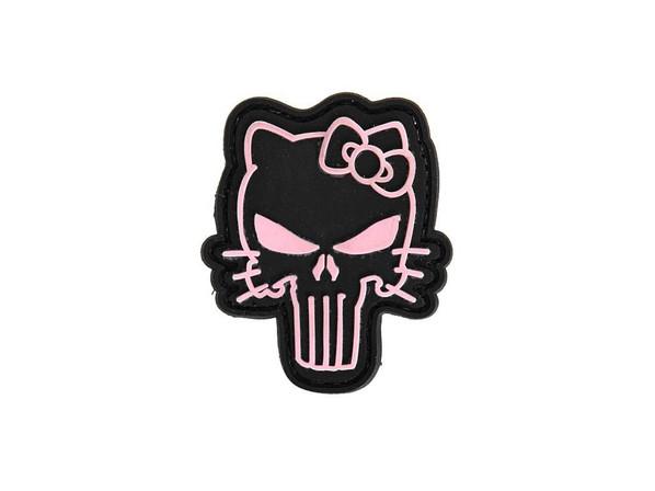 Hello Kitty Pink Punisher Skull PVC Velcro Patch