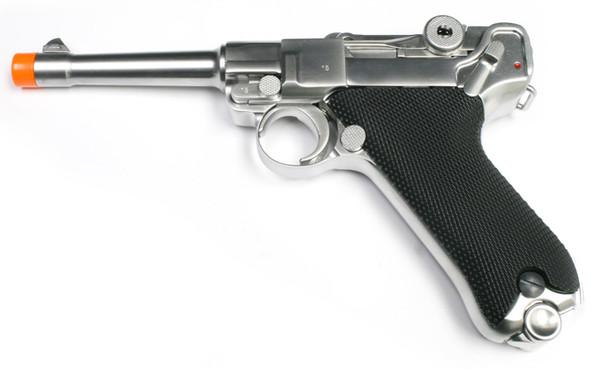 "WE Luger P08 4"" Gas Blowback Chrome Metal Airsoft Pistol"