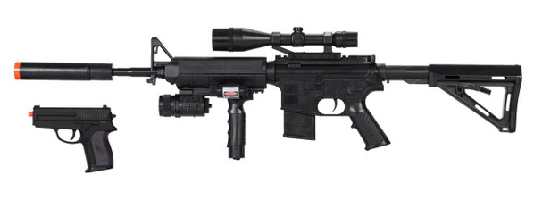 Tactical M4 Spring-Powered Combat Rifle and Sidearm Kit