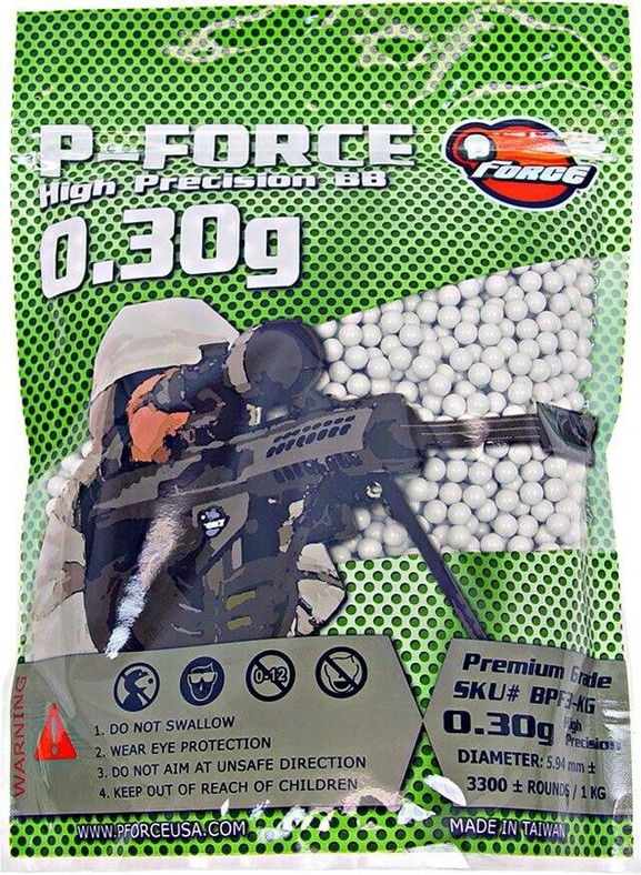 Premium 0.30g BBs by P-Force, 1KG Bag, White