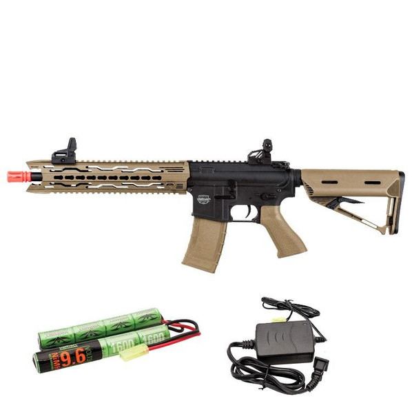 Valken Battle Machine AEG V2.0 TRG-M Carbine, Black/FDE/Tan w/ Battery and Charger
