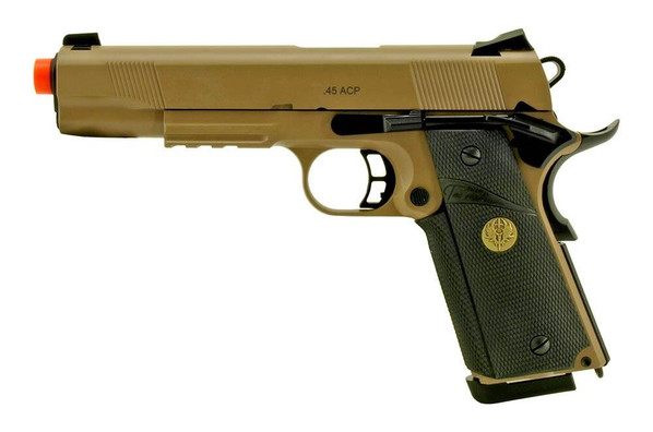Spartan KJW STS-7 1911 MEU Gas Blowback Airsoft Pistol, Tan