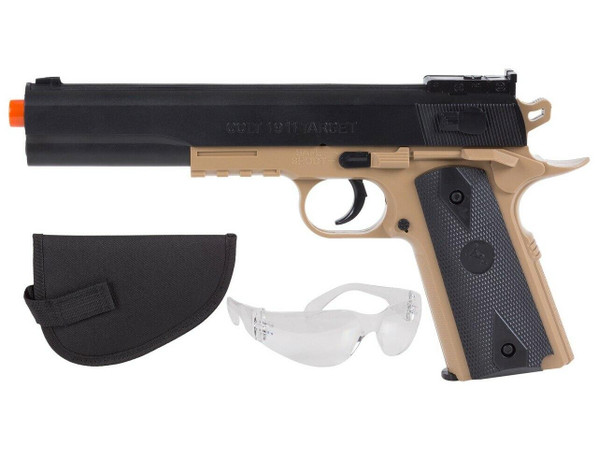 Colt 1911 Spring Pistol Kit w/ Holster and Safety Glasses, Black/Tan