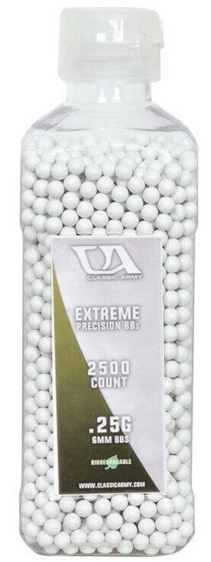 Classic Army 0.25g Extreme Precision Premium Biodegradable Airsoft BBs, 2500ct Bottle
