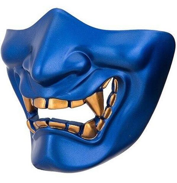 Yokai Ogre Padded Polymer Lower Face Mask, Blue