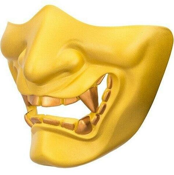 Yokai Ogre Padded Polymer Lower Face Mask, Gold