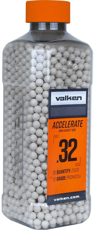 Valken Accelerate 0.32g BBs, 2500 CT, White
