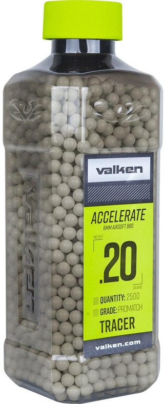 Valken Accelerate 0.20g BBs, 2500 CT, Tracer