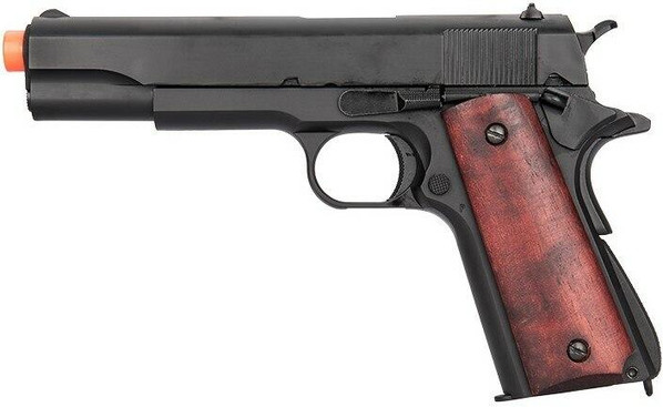 Double Bell Green Gas M1911A1 Gas Blowback Airsoft Pistol, Low Velocity, Black