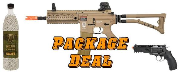 GandG GR4 100Y Blowback AEG DST Bundle - Includes Elite Force H8R Co2 Revolver and 5000 BBs