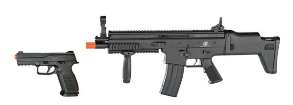 FN Herstal SCAR-L AEG Rifle and FNS-9 Spring Pistol Airsoft Kit, Black