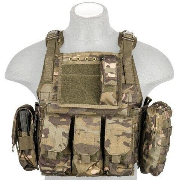 Lancer Tactical Nylon Tactical Assault Plate Carrier, Camo Tropic