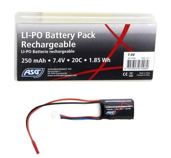 ASG 7.4v 250mAh LiPO Battery