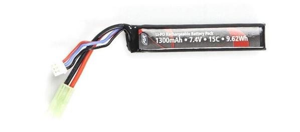 ASG Stock Tube Battery 7.4v 1300mAh 15C LiPO