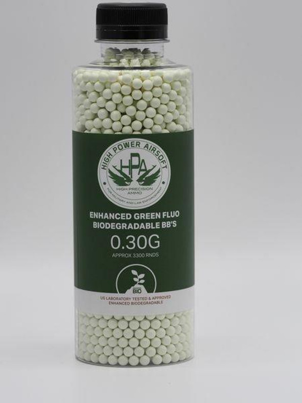 HPA 0.30g FLUO Biodegradable Green Tracer Airsoft BBs, 3300 Ct