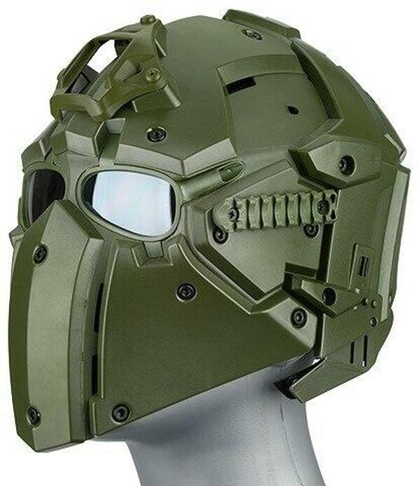 WoSport Tactical Helmet w/ NVG Shroud and Transfer Base, OD Green