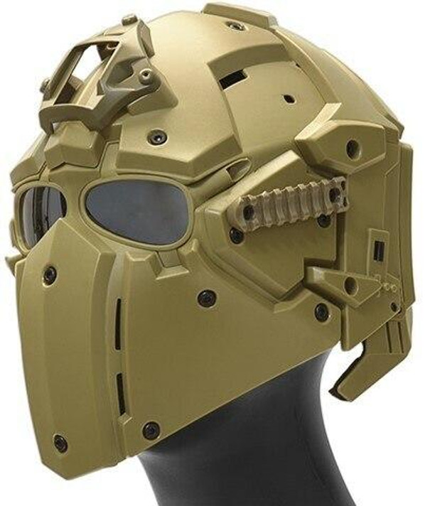 WoSport Tactical Helmet w/ NVG Shroud and Transfer Base, Tan
