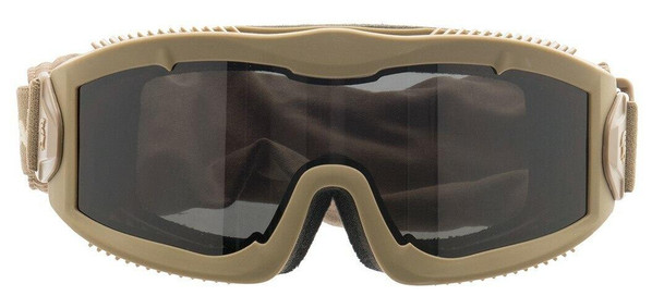 Lancer Tactical AERO Series Dual Pane Airsoft Goggles, Tan w/ Smoked Lens