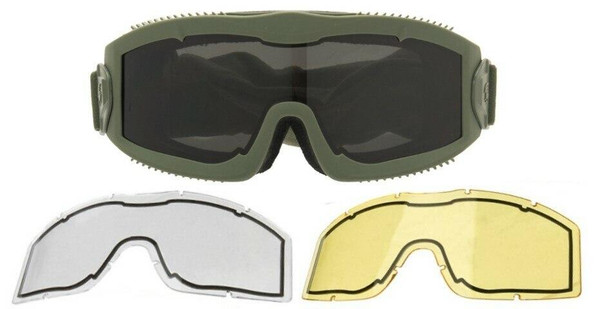 Lancer Tactical AERO Series Dual Pane Airsoft Goggles, Green w/ Smoked, Yellow, and Clear Lens