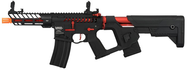 Lancer Tactical Enforcer Series NEEDLETAIL Skeleton ProLine Low FPS AEG Airsoft Rifle, Black / Red