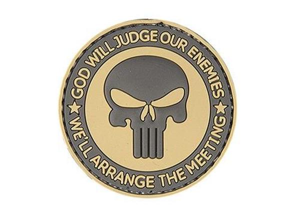God Will Judge Our Enemies PVC Patch, Tan/Black