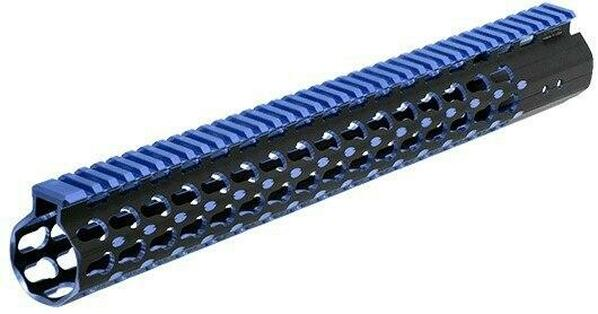 UTG PRO Keymod AR15 15 Super Slim Rail, Black and Blue 2-Tone