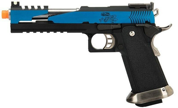 WE Tech 1911 Hi-Capa T-Rex Competition Gas Blowback Airsoft Pistol w/ Top Vent, Blue / Silver