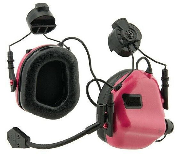 Earmor M32H MOD3 Tactical Communication Hearing Protector for FAST Helmet, Pink