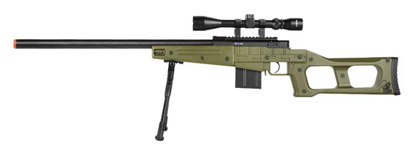 WellFire MK96 Covert Bolt Action Airsoft Sniper Rifle w/ Fluted Barrel and Scope, OD Green