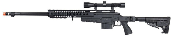 WellFire MB4418-1 Bolt Action Airsoft Sniper Rifle w/ Scope, Black