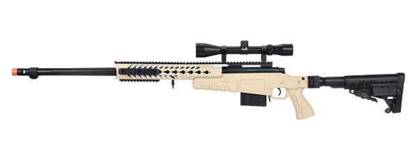 WellFire MB4418-1 Bolt Action Airsoft Sniper Rifle w/ Scope, Tan
