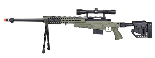 WellFire MB4418-2 Bolt Action Airsoft Sniper Rifle w/ Scope and Bipod, OD Green