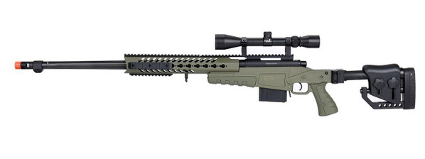 WellFire MB4418-2 Bolt Action Airsoft Sniper Rifle w/ Scope, OD Green