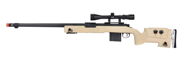 WellFire MB4417 M40A3 Bolt Action Airsoft Sniper Rifle w/ Scope, Tan