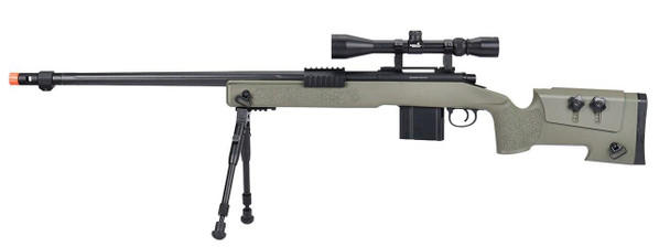 WellFire MB4416 M40A3 Bolt Action Airsoft Sniper Rifle w/ Scope and Bipod, OD Green