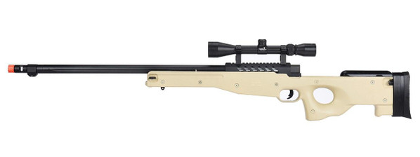 WellFire MB15 L96 Bolt Action Airsoft Sniper Rifle w/ Scope, Tan