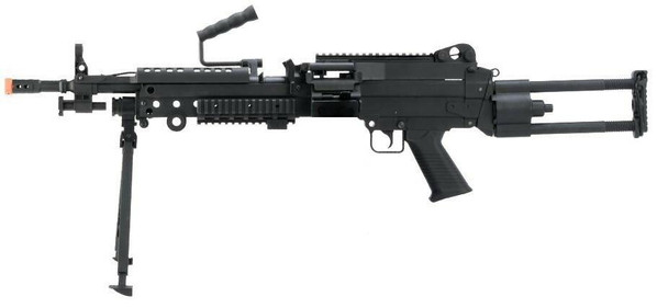 Cybergun FN Herstal Licensed M249 Para Featherweight LMG Airsoft Rifle, Black