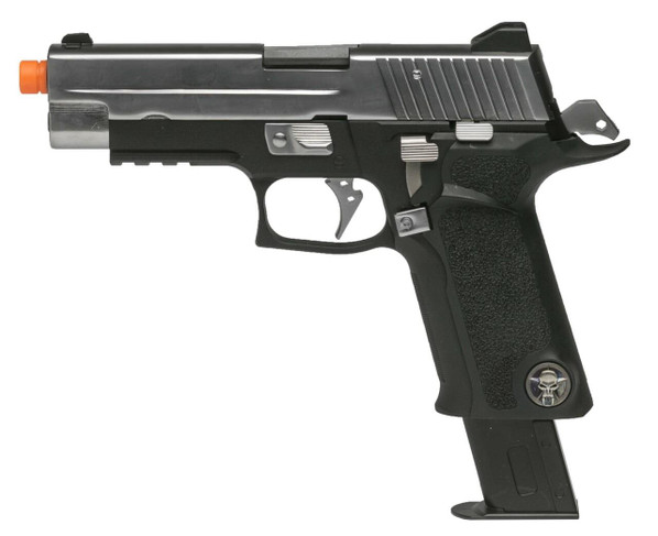 WE Tech P-Virus Two-Tone Gas Blowback Airsoft Pistol, Black / Silver