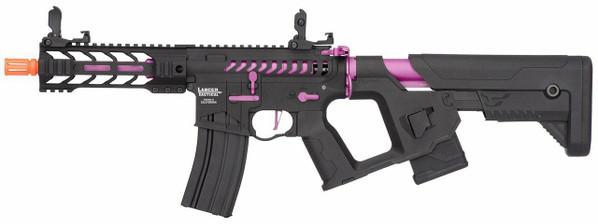 Lancer Tactical Enforcer Series BATTLE HAWK 7 Skeleton High FPS AEG Airsoft Rifle w/ Alpha Stock, Black / Purple