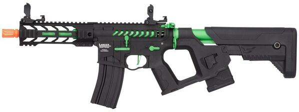 Lancer Tactical Enforcer Series BATTLE HAWK 7 Skeleton High FPS AEG Airsoft Rifle w/ Alpha Stock, Black / Green