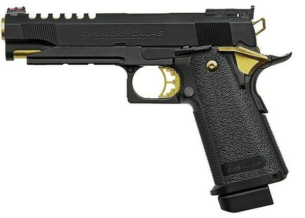 Tokyo Marui Hi-Capa 5.1 Gold Match Custom Gas Blowback Airsoft Pistol, Black / Gold