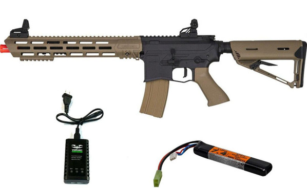 Valken ASL Series AEG Airsoft Rifle TANGO, Black/Tan w/ LiPO Battery and Charger