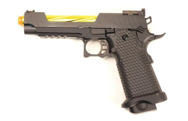 JAG Arms GMX Series 1.0 Gas Blowback Airsoft Pistol, Gold Barrel