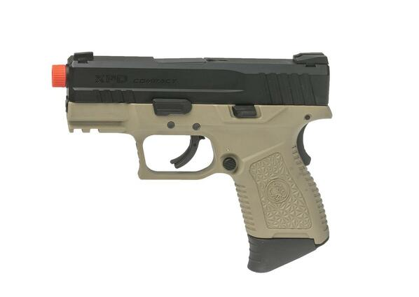 ASG XPD Compact Gas Blowback Airsoft Pistol, Tan / Black