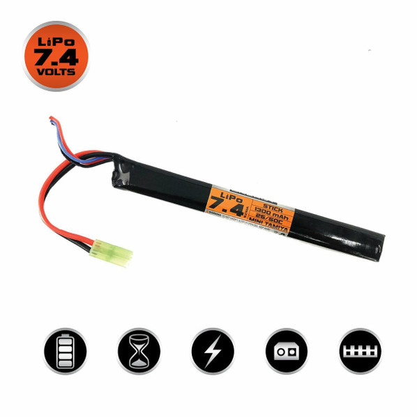 Valken 7.4V 1300mAh 50c Stick Airsoft LiPO Battery, Small Tamiya