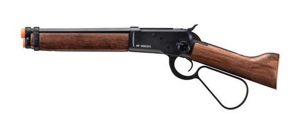 AandK M1873 Mares Leg Lever Action Green Gas Airsoft Rifle, Black