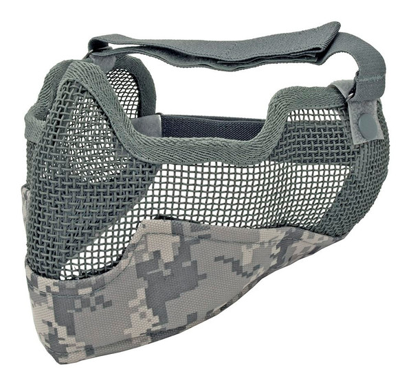 3G Steel Mesh Half Face Mask, Deluxe Version w/ Ear Protection, ACU