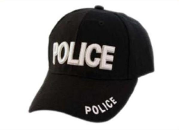Embroidered POLICE Hat, Adjustable, Black