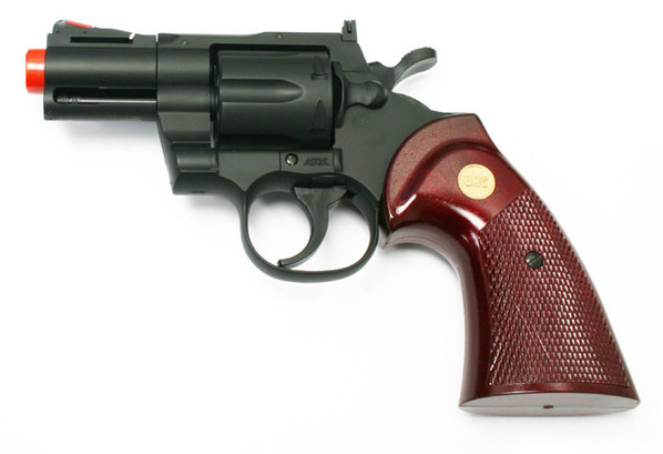 """UHC 2.5"""" Airsoft Revolver, Black with Simulated Wood Grip"""